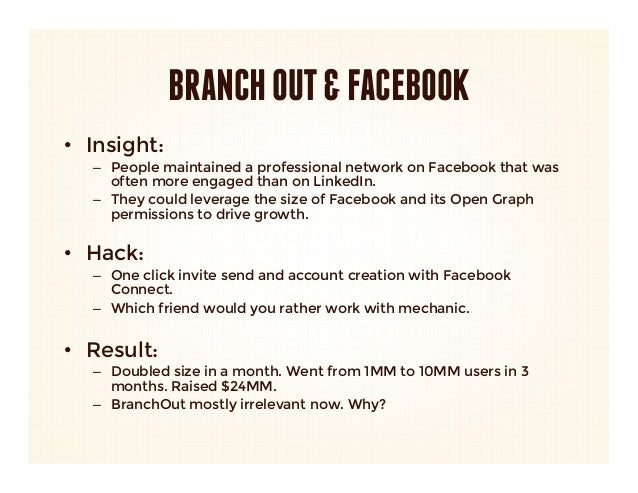 BRANCH OUT & FACEBOOK• Insight:    – People maintained a professional network on Facebook that was      often more engag...