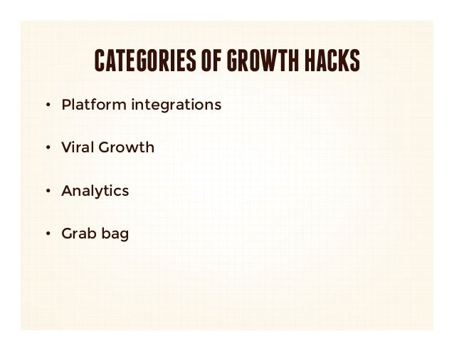CATEGORIES OF GROWTH HACKS•  Platform integrations•  Viral Growth•  Analytics•  Grab bag