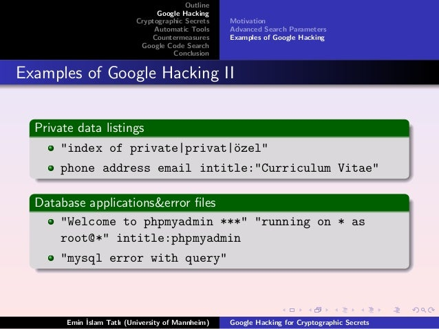google hacking for cryptographic secrets