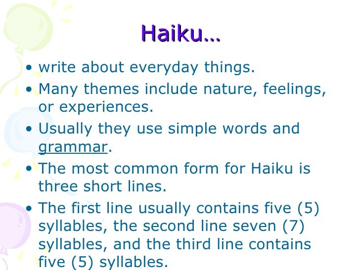 what makes a haiku poem