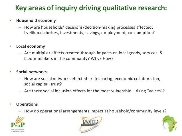 Key areas of inquiry driving qualitative research: •  Household economy – How are households' decisions/decision-making pr...