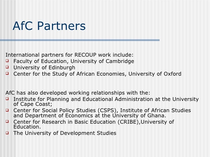 Recoup ghana work in progress and policy implications - International office university of edinburgh ...