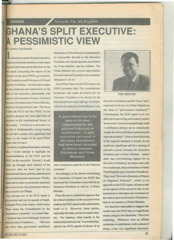 Amos Anyimadu on the Executive in Ghana Government , 1991