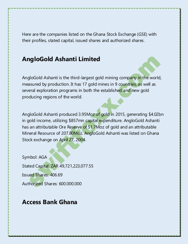 Ghana Stock Exchange (GSE) Listed Companies - 2018 Updated ...