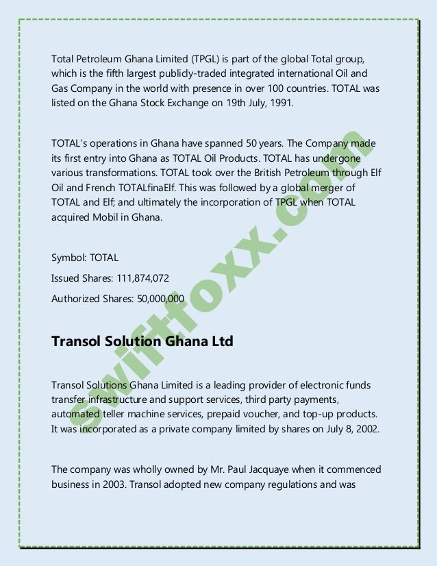 Ghana Stock Exchange Listed Companies 2017