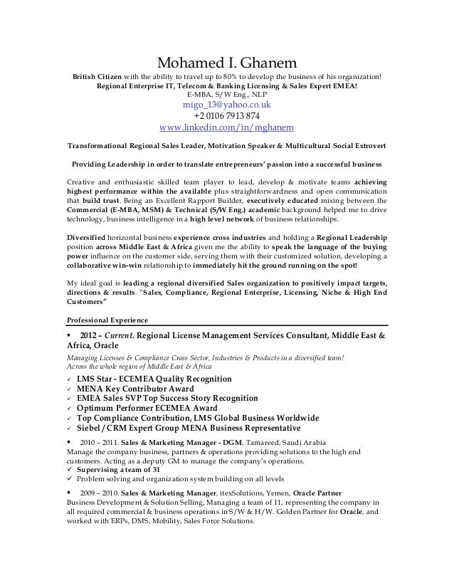 Ghanem CV Resume 2015 BBB. Mohamed I. Ghanem British Citizen With The  Ability To Travel Up To 80% To ...
