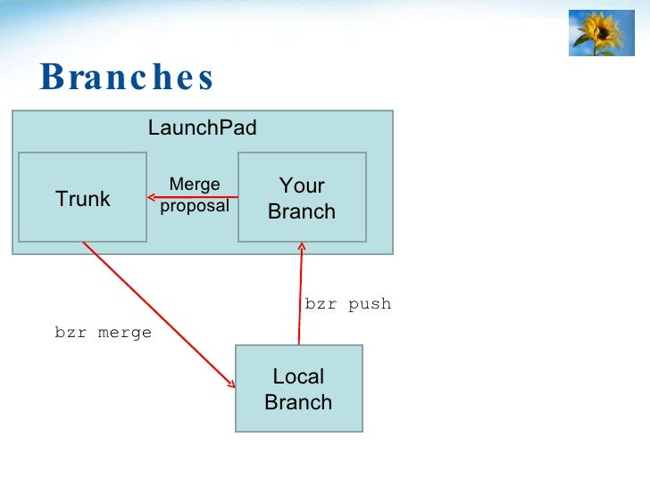 Branches LaunchPad Merge proposal Trunk Local Branch Your Branch bzr merge bzr push