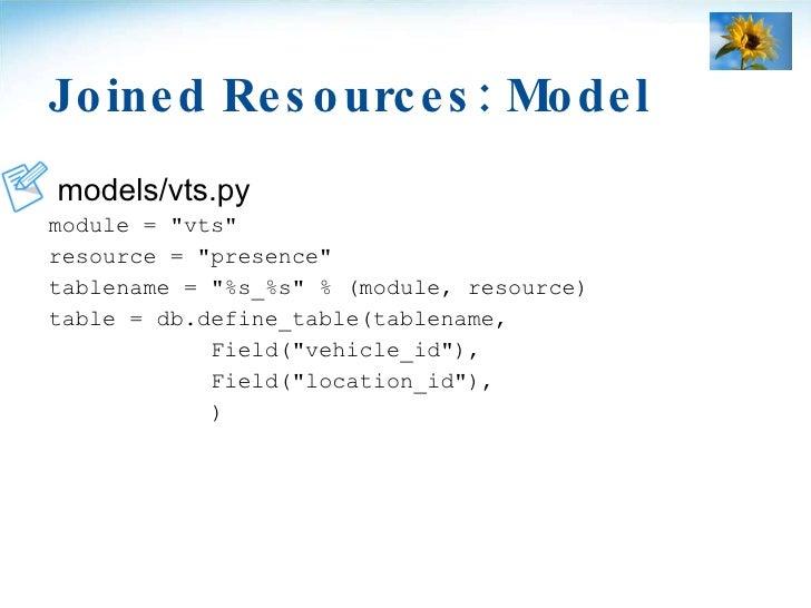 Joined Resources: Model <ul><li>models/vts.py </li></ul><ul><li>module = &quot;vts&quot; </li></ul><ul><li>resource = &quo...