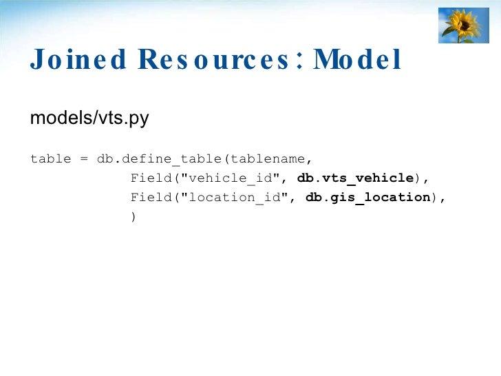 Joined Resources: Model <ul><li>models/vts.py </li></ul><ul><li>table = db.define_table(tablename, </li></ul><ul><li>Field...