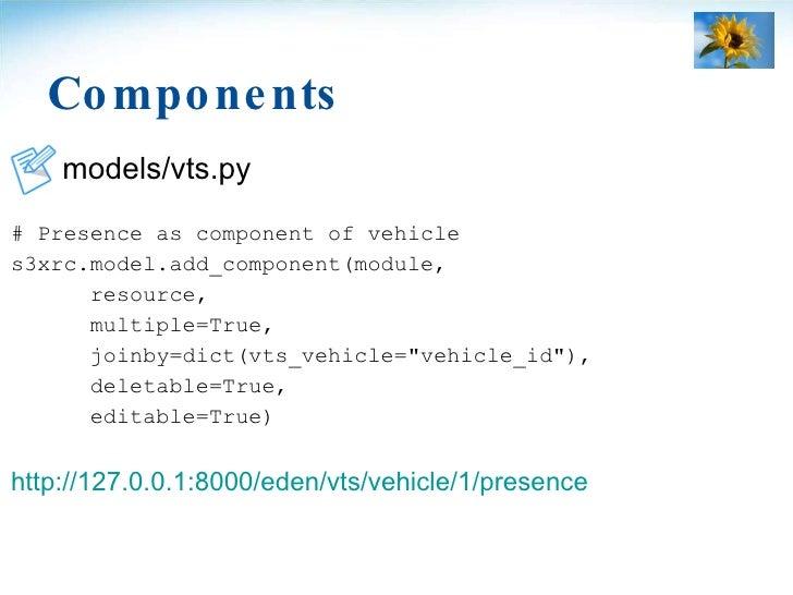 Components <ul><li>models/vts.py </li></ul><ul><li># Presence as component of vehicle </li></ul><ul><li>s3xrc.model.add_co...