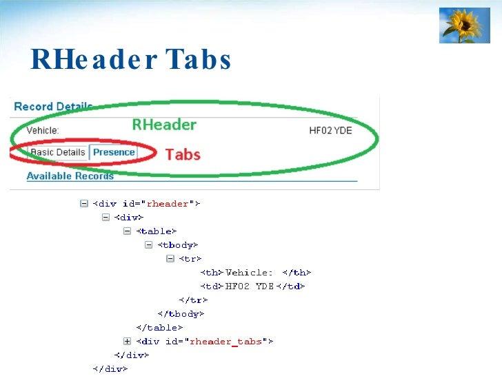 RHeader Tabs