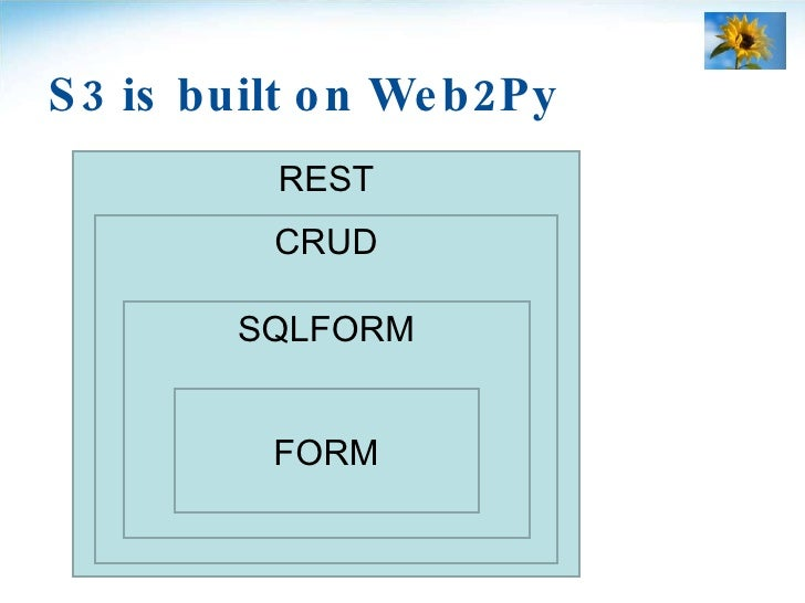 S3 is built on Web2Py REST CRUD SQLFORM FORM