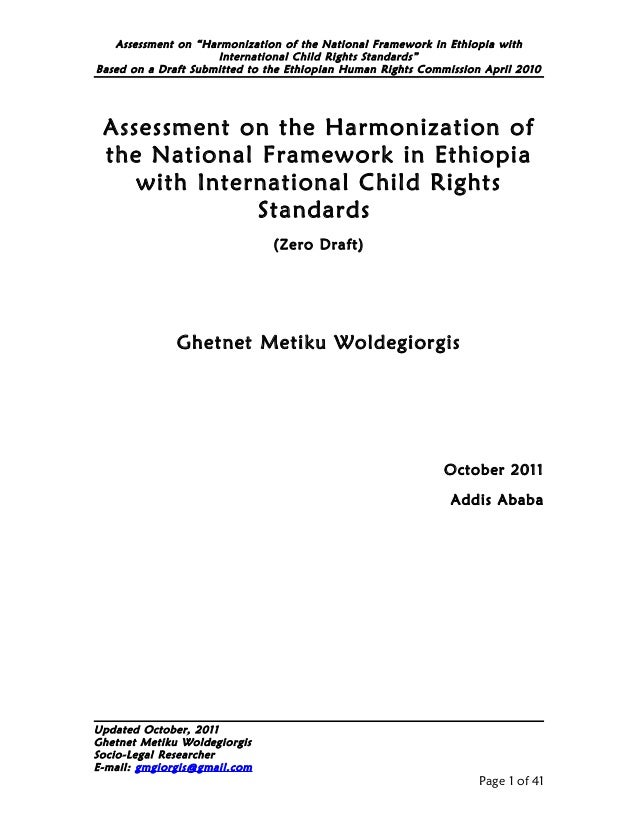 """Assessment on """"Harmonization of the National Framework in Ethiopia with                     International Child Rights Sta..."""
