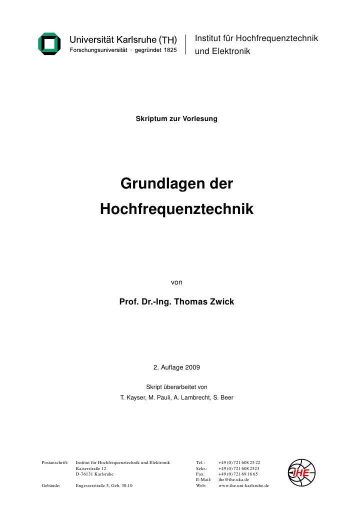 Institut für Hochfrequenztechnik                                                                          und Elektronik  ...