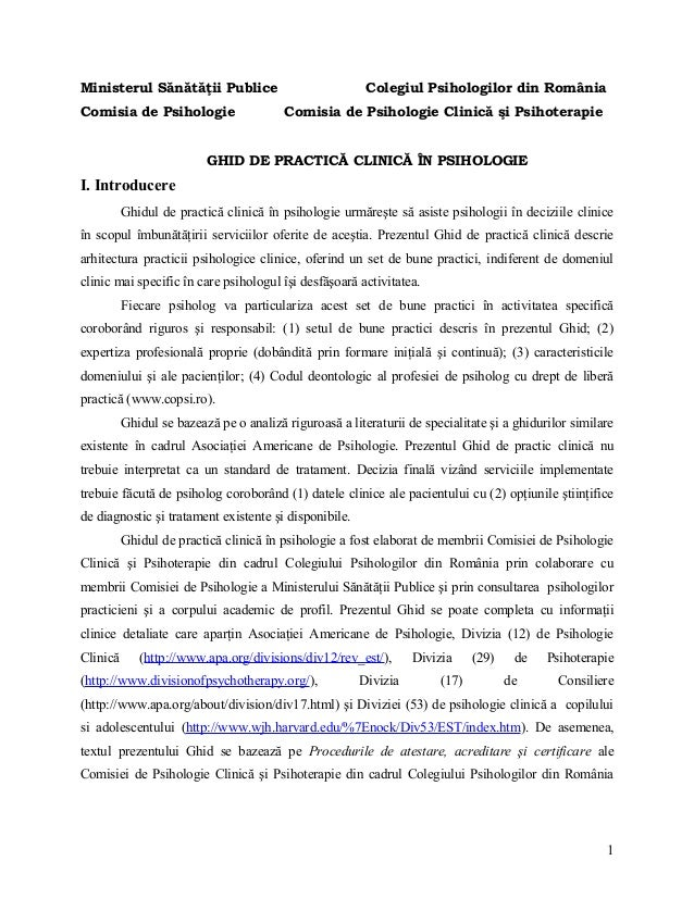Ministerul Sănătăţii Publice Colegiul Psihologilor din România Comisia de Psihologie Comisia de Psihologie Clinică şi Psih...
