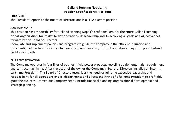GHN President Job Description. Galland Henning Nopak, Inc. Position  Specifications: President PRESIDENT The President Reports To The ... Great Pictures