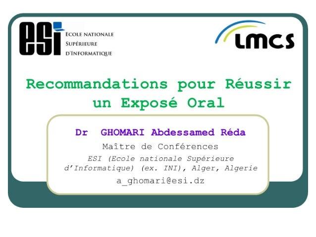 Ghomari reussir exposé_oral_mars_2010