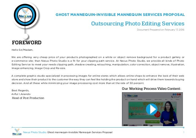 1Nexus Photo Studio: Ghost mannequin-Invisible Mannequin Services Proposal GHOST MANNEQUIN-INVISIBLE MANNEQUIN SERVICES PR...