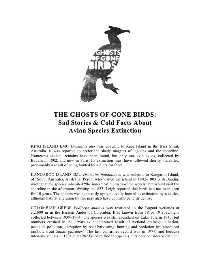 THE GHOSTS OF GONE BIRDS:               Sad Stories & Cold Facts About                  Avian Species ExtinctionKING ISLAN...