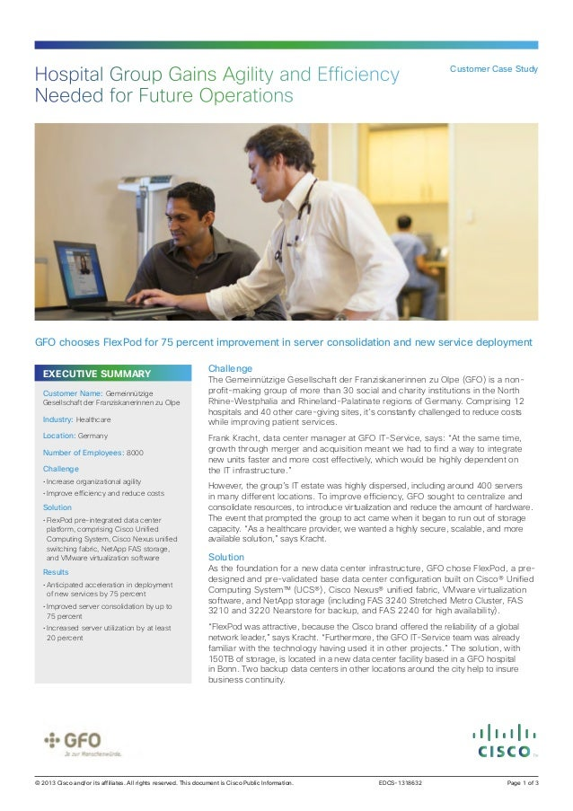 Hospital Group Gains Agility and Efficiency Needed for Future Operations  Customer Case Study  GFO chooses FlexPod for 75 ...