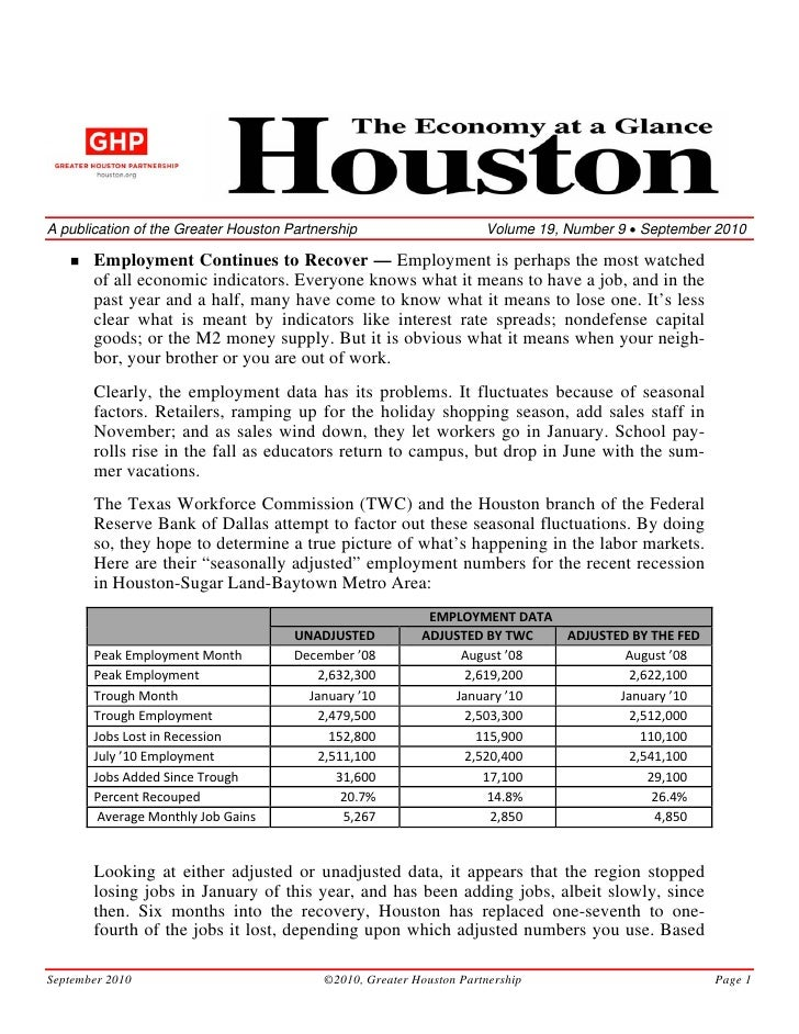 A publication of the Greater Houston Partnership                      Volume 19, Number 9 • September 2010         Employm...