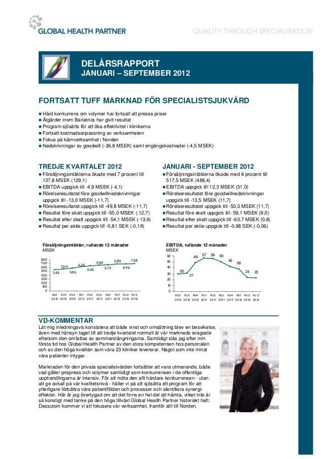 DELÅRSRAPPORT                          JANUARI – SEPTEMBER 2012FORTSATT TUFF MARKNAD FÖR SPECIALISTSJUKVÅRD Hård konkurre...