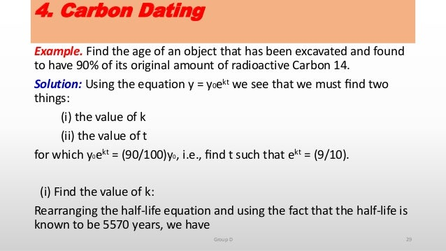 Carbon dating equation
