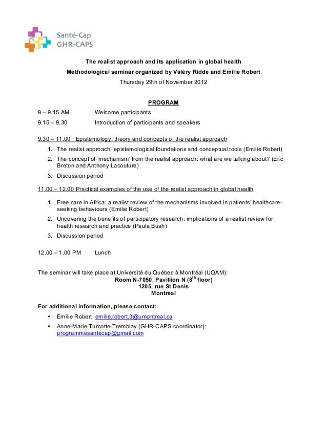The realist approach and its application in global health           Methodological seminar organized by Valéry Ridde and E...