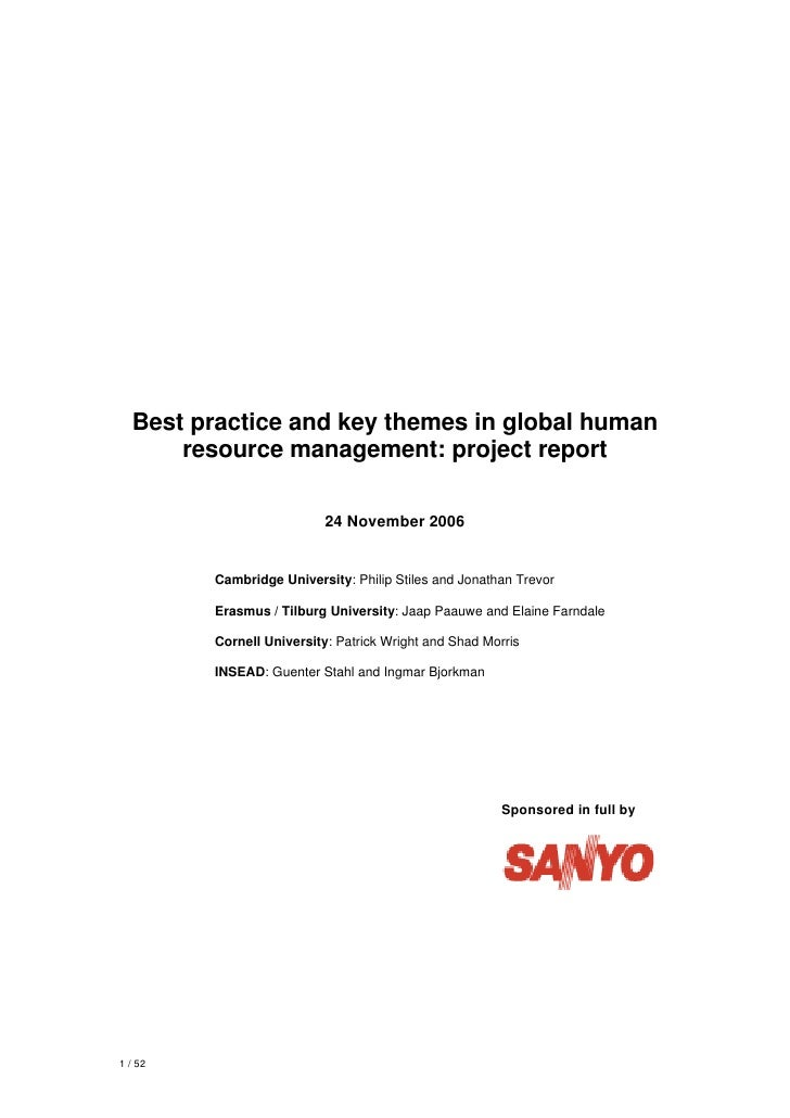 Best practice and key themes in global human      resource management: project report                           24 Novembe...