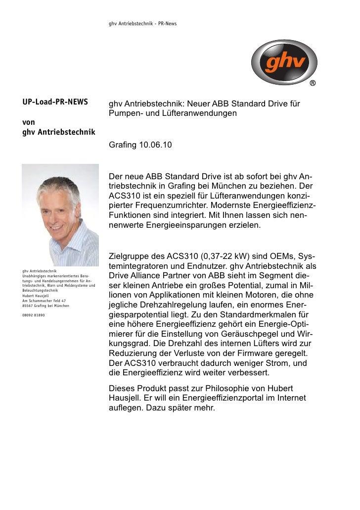 ghv Antriebstechnik - PR-News     UP-Load-PR-NEWS                            ghv Antriebstechnik: Neuer ABB Standard Drive...