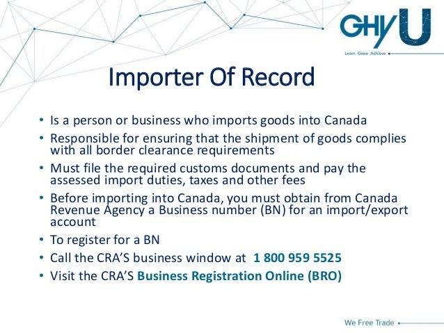 how to get an importer number in canada