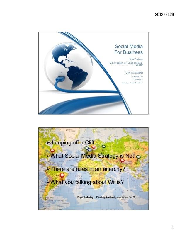 2013-06-261Social MediaFor BusinessNigel FortlageVice President IT / Social BusinessLeaderGHY InternationalCanada & USACus...