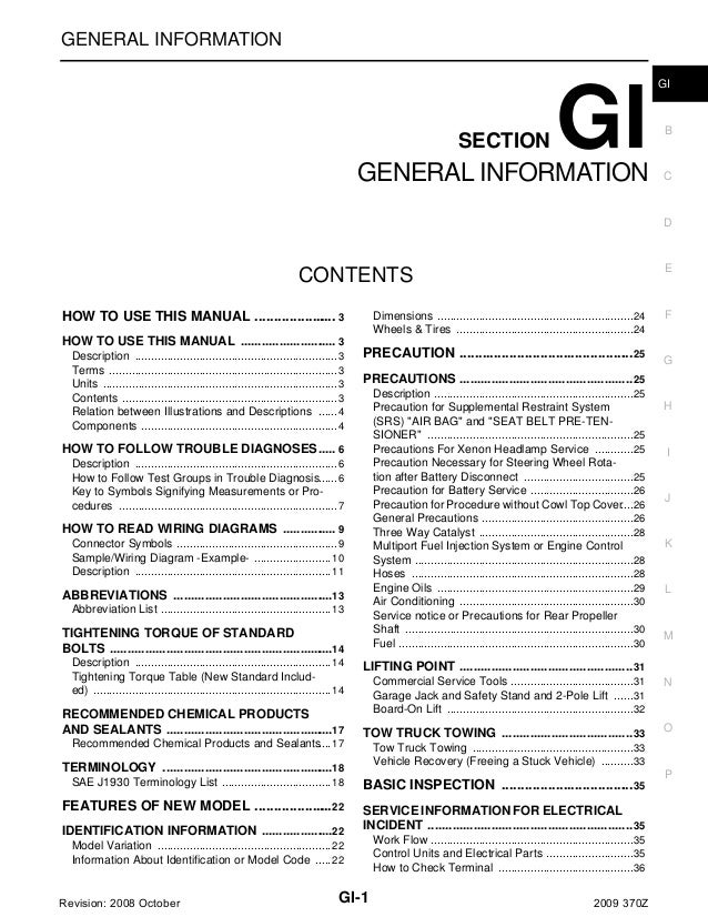 GENERAL INFORMATION  SECTION  GI  GENERAL INFORMATION  GI  B  C  D  E  CONTENTS HOW TO USE THIS MANUAL ......................