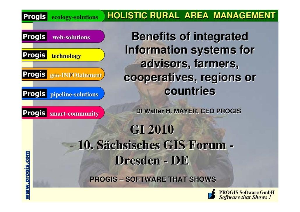 Progis ecology-solutions         HOLISTIC RURAL AREA MANAGEMENTProgis           web-solutions       Benefits of integrated...