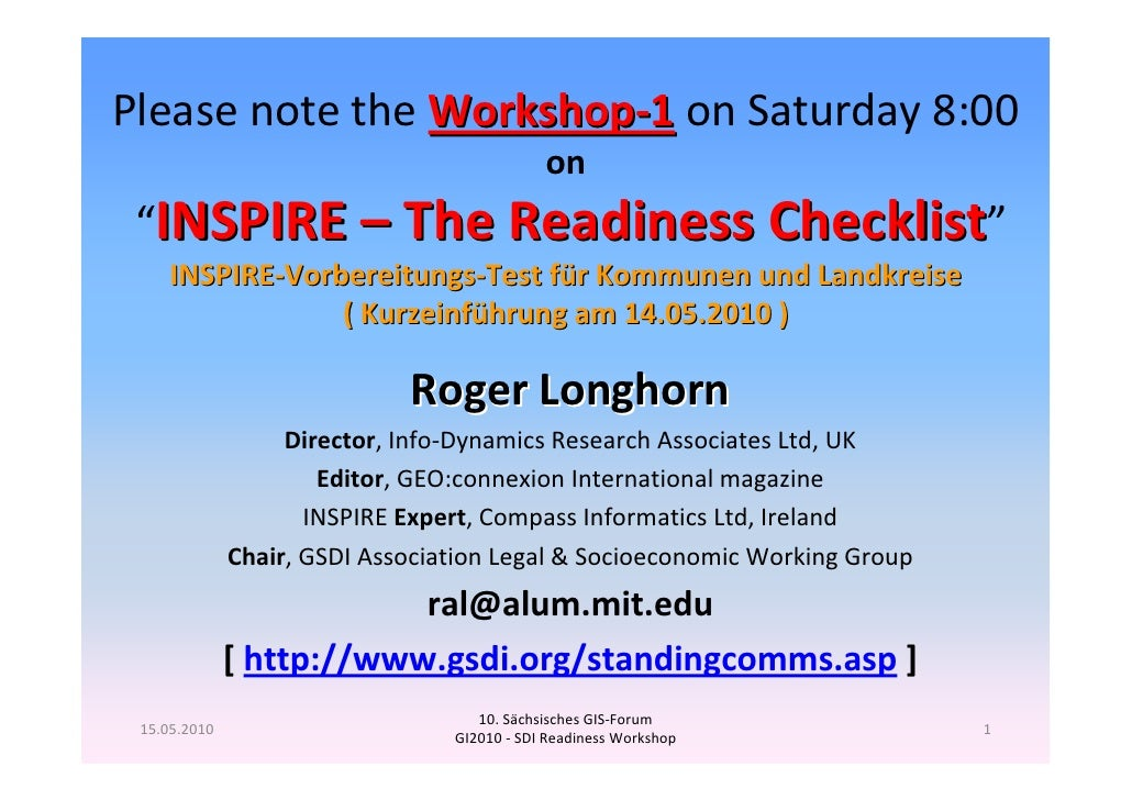 "Please note the Workshop‐1 on Saturday 8:00                                             on ""INSPIRE – The Readiness Checkl..."
