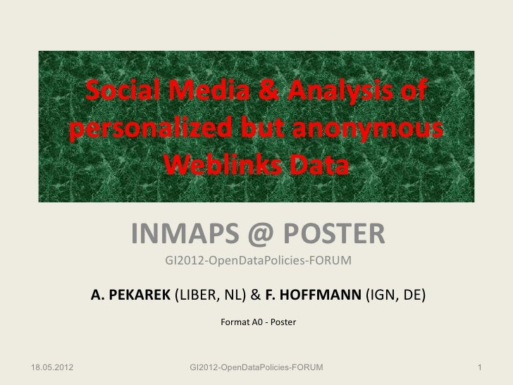Social Media & Analysis of        personalized but anonymous               Weblinks Data                  INMAPS @ POSTER ...