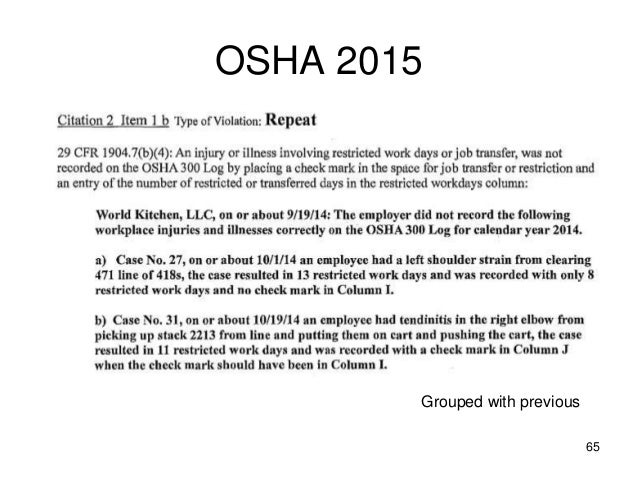 OSHA 2015 65 Grouped with previous ...