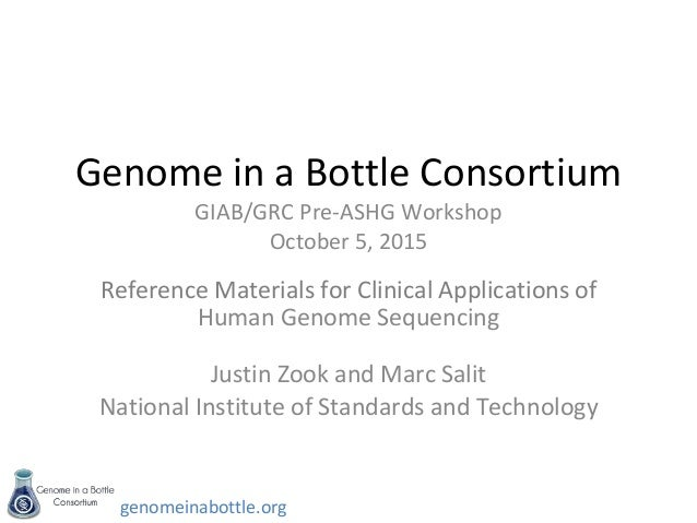 genomeinabottle.org Genome in a Bottle Consortium GIAB/GRC Pre-ASHG Workshop October 5, 2015 Reference Materials for Clini...