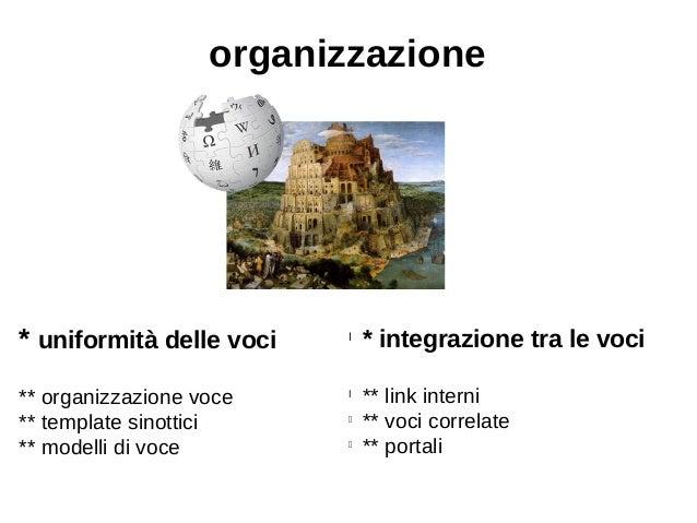 organizzazione * uniformit� delle voci ** organizzazione voce ** template sinottici ** modelli di voce l * integrazione tr...