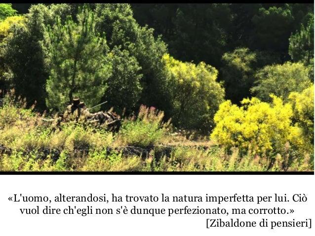 «L'uomo, alterandosi, ha trovato la natura imperfetta per lui. Ciò vuol dire ch'egli non s'è dunque perfezionato, ma corro...