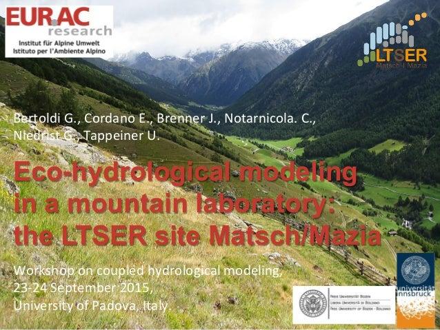 Eco-hydrological modeling in a mountain laboratory: the LTSER site Matsch/Mazia Bertoldi  G.,  Cordano  E.,  Brenn...