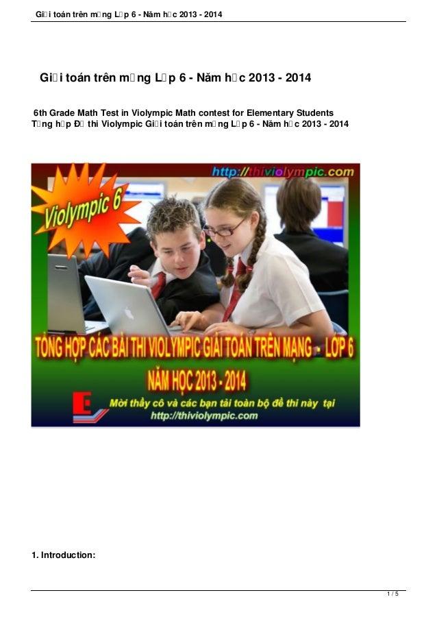 Giải toán trên mạng Lớp 6 - Năm học 2013 - 2014 Giải toán trên mạng Lớp 6 - Năm học 2013 - 2014 6th Grade Math Test in Vio...