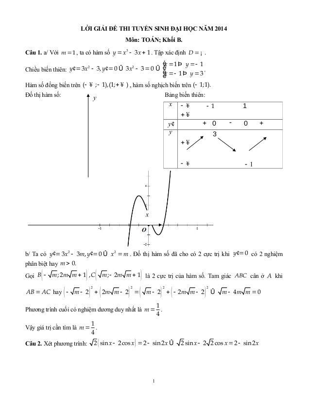 LỜI GIẢI ĐỀ THI TUYỂN SINH ĐẠI HỌC NĂM 2014 Môn: TOÁN; Khối B. Câu 1. a/ Với =1m , ta có hàm số = - +3 3 1y x x . Tập xác ...