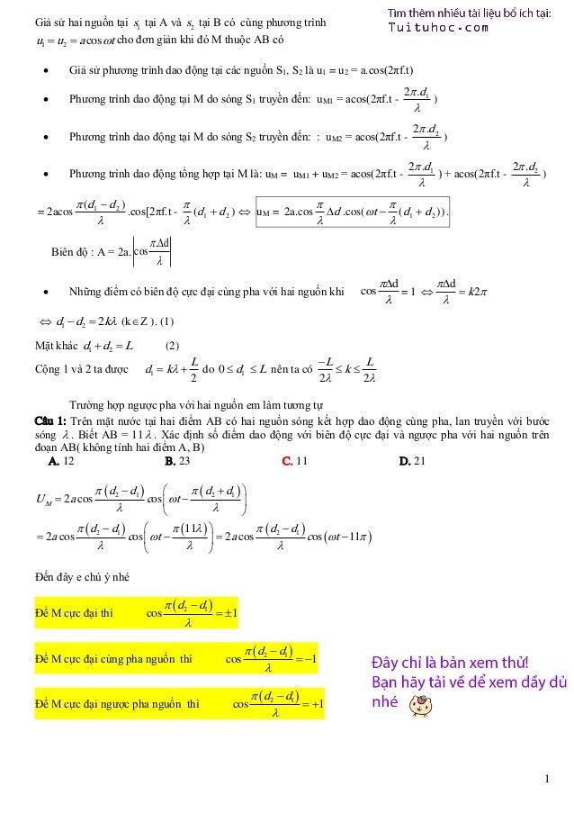 Giả sử hai nguồn tại s1 tại A và s2 tại B có cùng phương trình u1  u2  a cos t cho đơn giản khi đó M thuộc AB có   Giả...