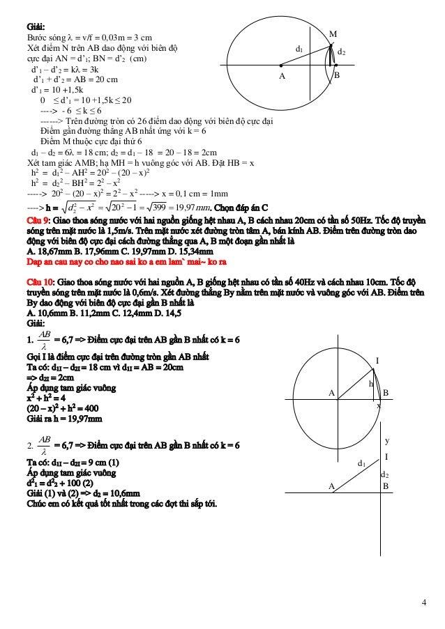 Giải: Bước sóng  = v/f = 0,03m = 3 cm Xét điểm N trên AB dao động với biên độ cực đại AN = d'1; BN = d'2 (cm)  d'1 – d'2...
