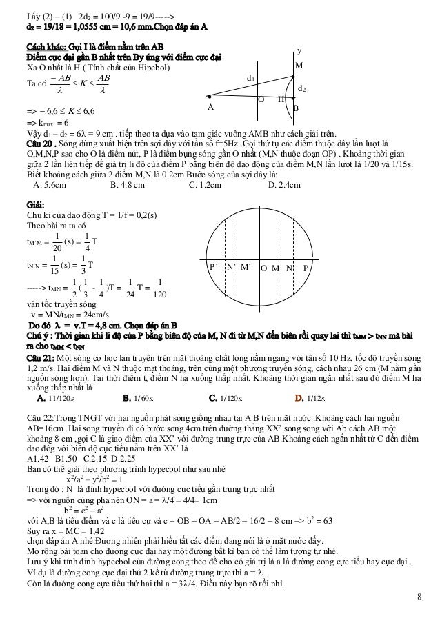 Lấy (2) – (1) 2d2 = 100/9 -9 = 19/9-----> d2 = 19/18 = 1,0555 cm = 10,6 mm.Chọn đáp án A Cách khác: Gọi I là điểm nằm trên...