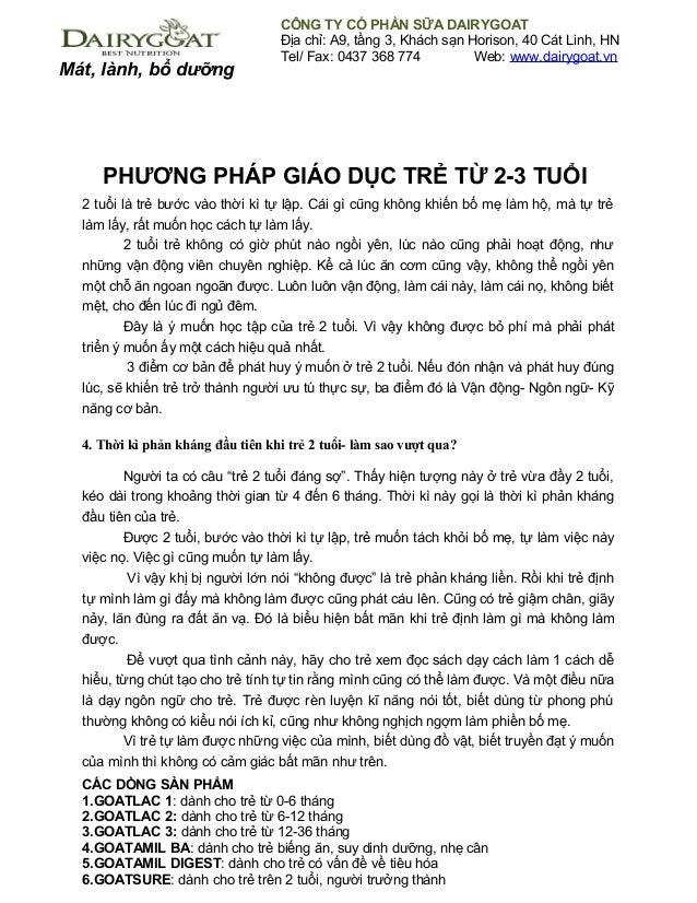 Mát, lành, bổ dưỡng CÔNG TY CỔ PHẦN SỮA DAIRYGOAT Địa chỉ: A9, tầng 3, Khách sạn Horison, 40 Cát Linh, HN Tel/ Fax: 0437 3...