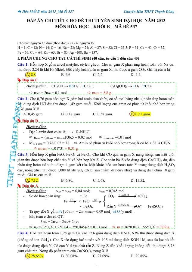  Hóa khối B năm 2013_Mã đề 537 Chuyên Hóa THPT Thạnh Đông ĐÁP ÁN CHI TIẾT CHO ĐỀ THI TUYỂN SINH ĐẠI HỌC NĂM 2013 MÔN HÓA ...