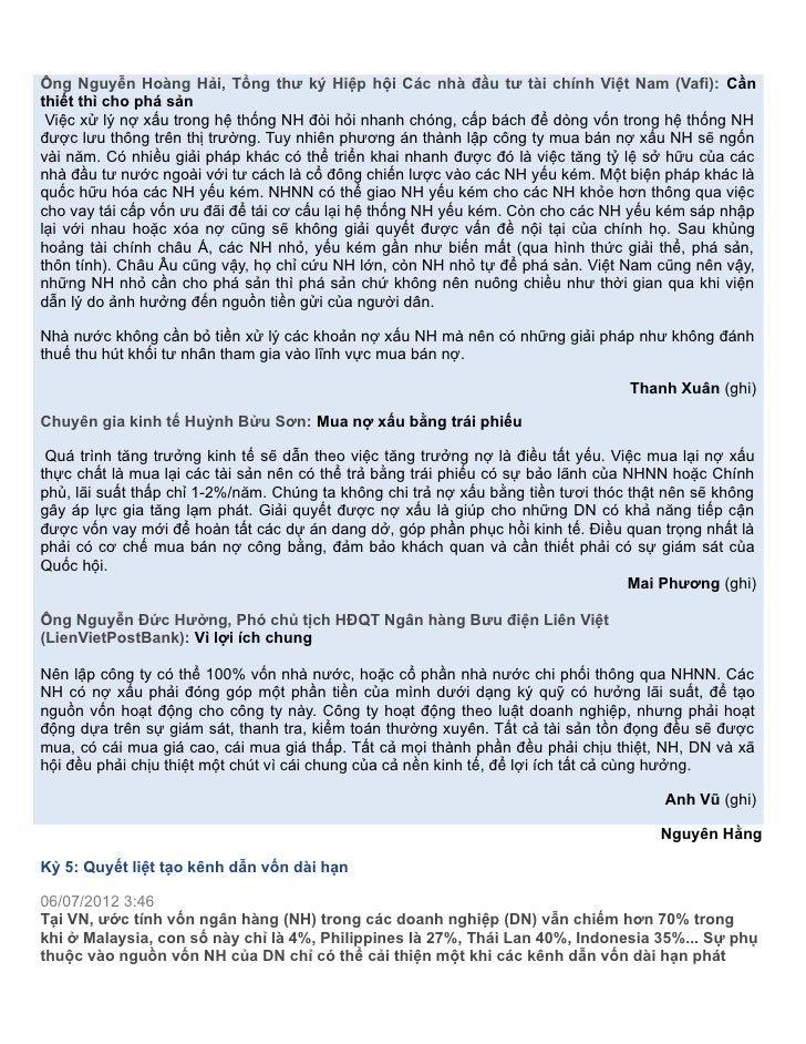 Ông Nguyễn Hoàng Hải, Tổng thư ký Hiệp hội Các nhà đầu tư tài chính Việt Nam (Vafi): Cầnthiết thì cho phá sản Việc xử lý n...