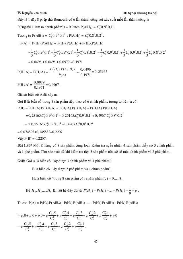 TS. Nguyễn Văn Minh ĐH Ngoại Thương Hà nội 42 Đây là 1 dãy 8 phép thử Bernoulli có 6 lần thành công với xác suất mỗi lần t...